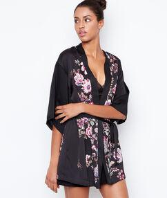 Saténové kimono skvětinovým potiskem černá.