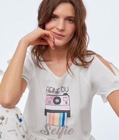 T-shirt imprimé ecru.