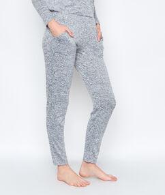 Ultra hebké kalhoty homewear žíhaný úplet šedá.