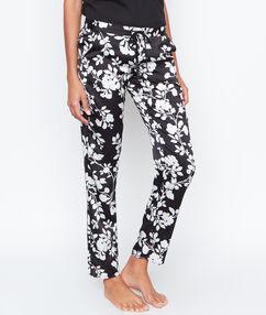 Kalhoty, květovaný satén černá.