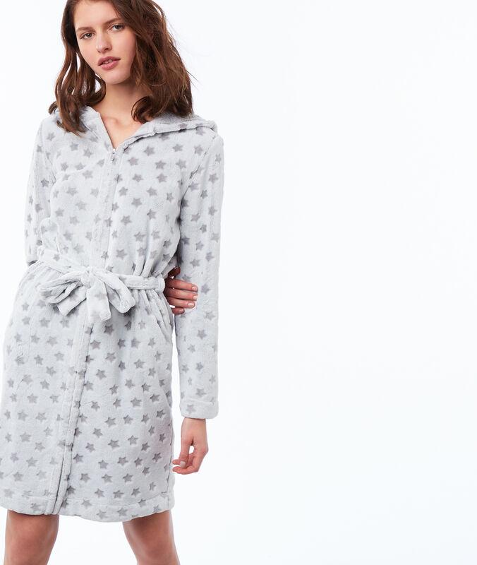 Potištěné domácí oblečení z nepravé kožešiny s kapucí šedá.