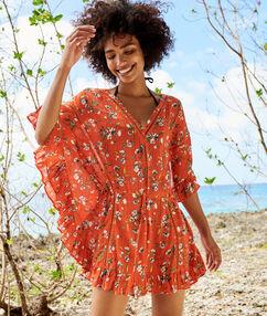Plážová tunika květovaná  rouge.