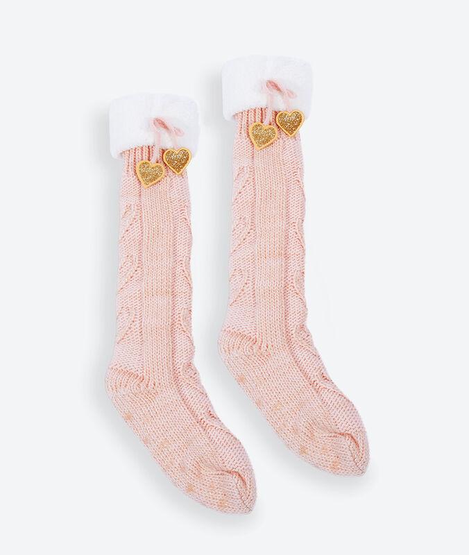 Domácí ponožky s metalickými vlákny růžová.