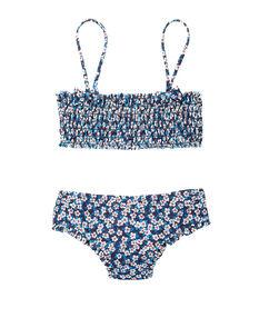 Kompletní plavky horní díl + spodní díl se vzorem liberty pro dívky modrá.