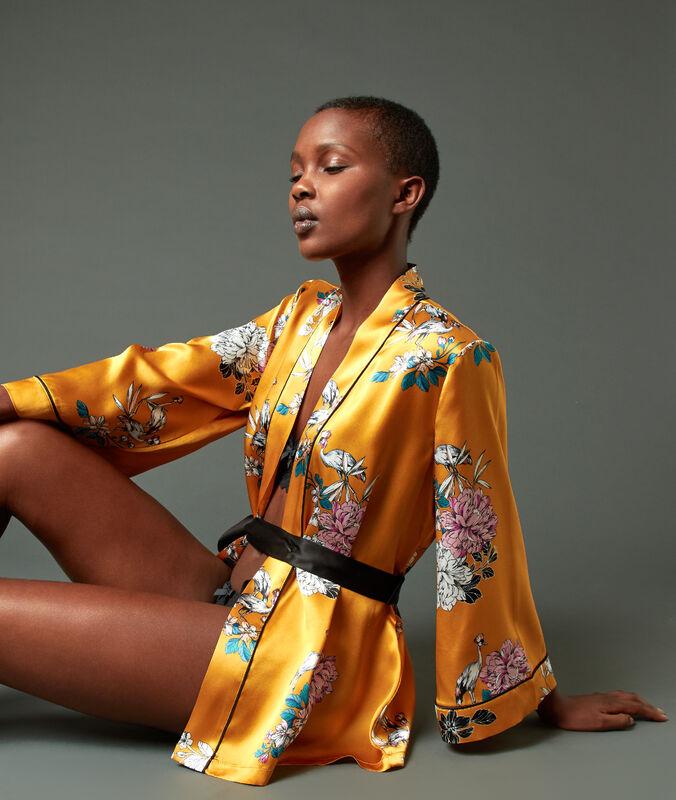 Déshabillé kimono 100% soie ocre.