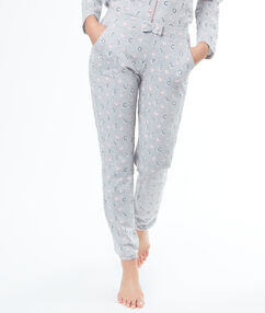 """Pantalon imprimé """"love cats"""" gris."""