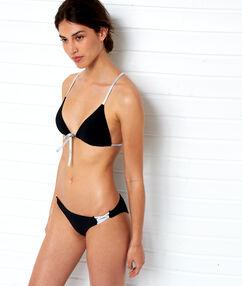 Bas de bikini simple, liens argentés noir.