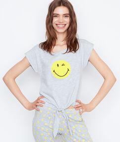 Tričko s potiskem smiley šedá.