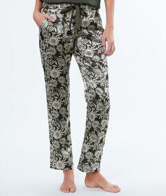 Pantalon imprimé fleuri khaki.