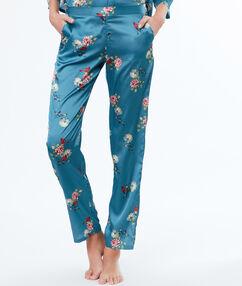 Saténové kalhoty s květinovým potiskem bleu.