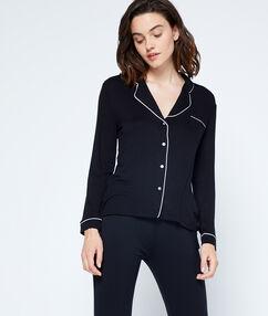 Dvoubarevná pyžamová košile černá.