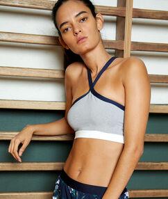 Sportovní brassiere, vyjímatelné vycpávky  - střední podpora gris.