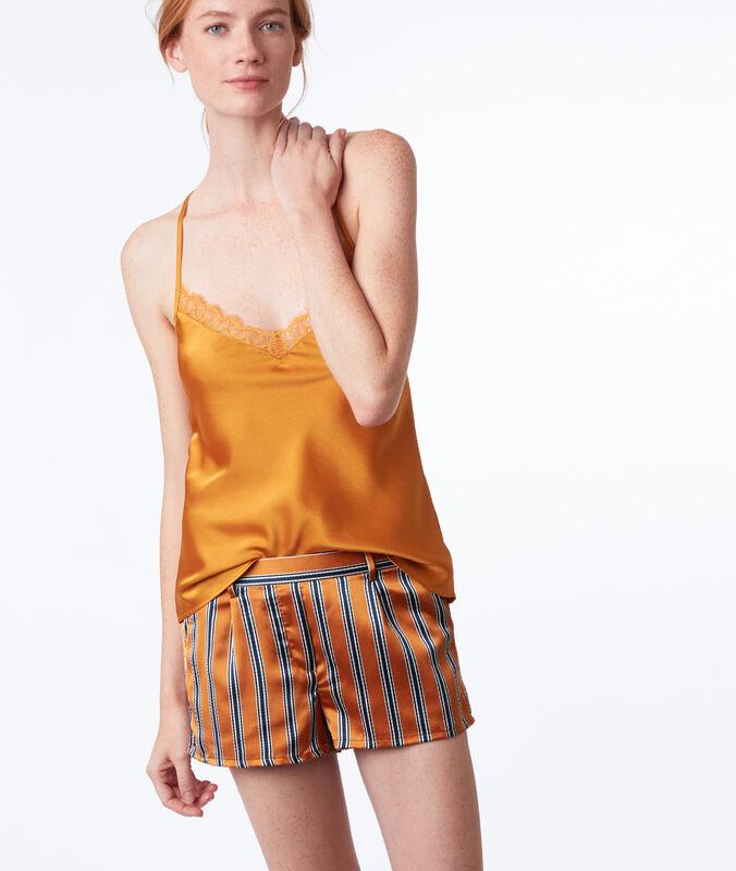 Pruhované pyžamové šortky okrová.