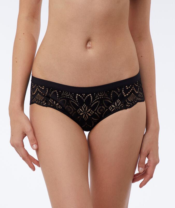 Nohavičkové kalhotky s květinovou krajkou černá.