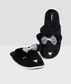 Sametové papuče zvířecí motiv 3d černá.
