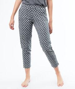 Kalhoty s potiskem s malými kytičkami grau.