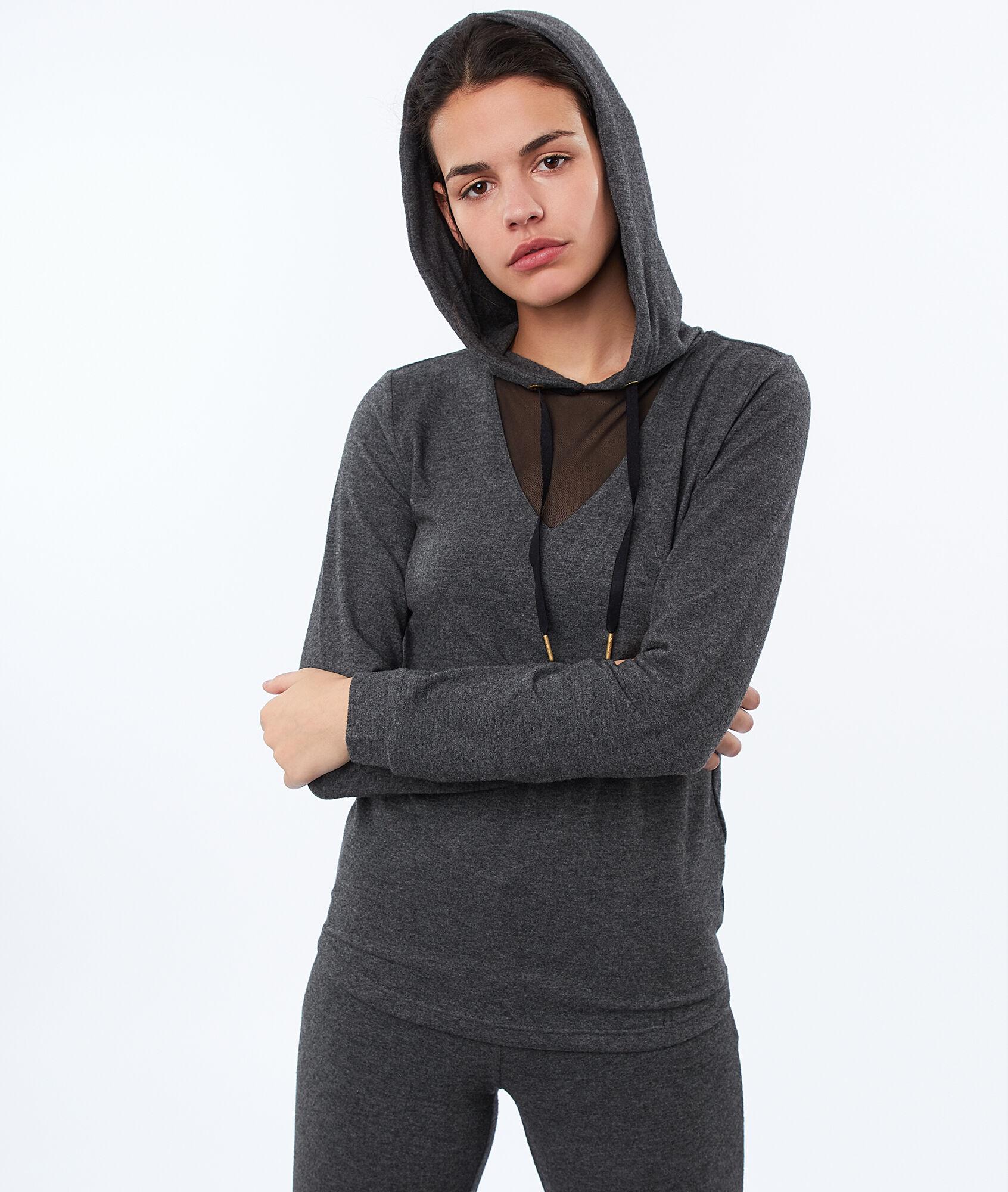 a199e77f332cd6 Homewear hooded top and fishnet neckline - Etam