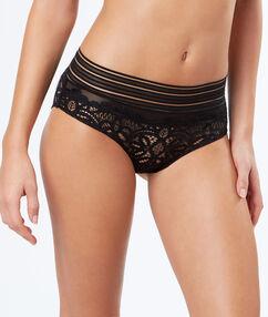 Krajkové kalhotky s elastickými pásky noir.