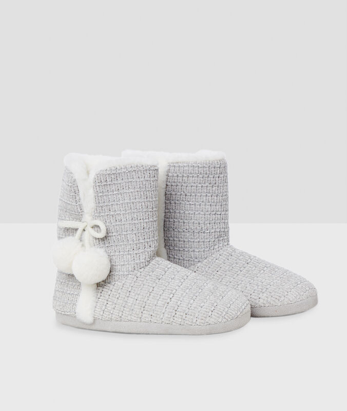 Papuče sbambulemi šedá.