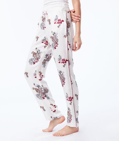 Domácí kalhoty na zavazování s květinovým potiskem