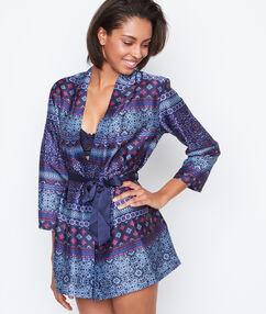 Domácí kimono, satén se vzorem bleu.