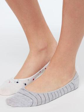 2 páry neviditelných ponožek gris/beige.