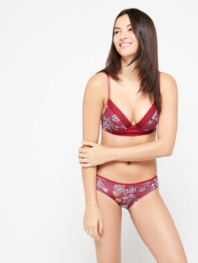Shorty imprimé bords dentelle bordeaux grenat.