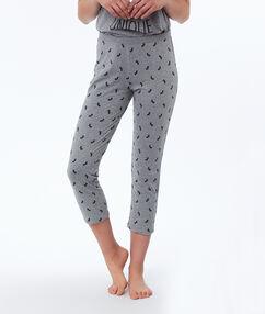 Tříčtvrteční kalhoty s potiskem jednorožce šedá.