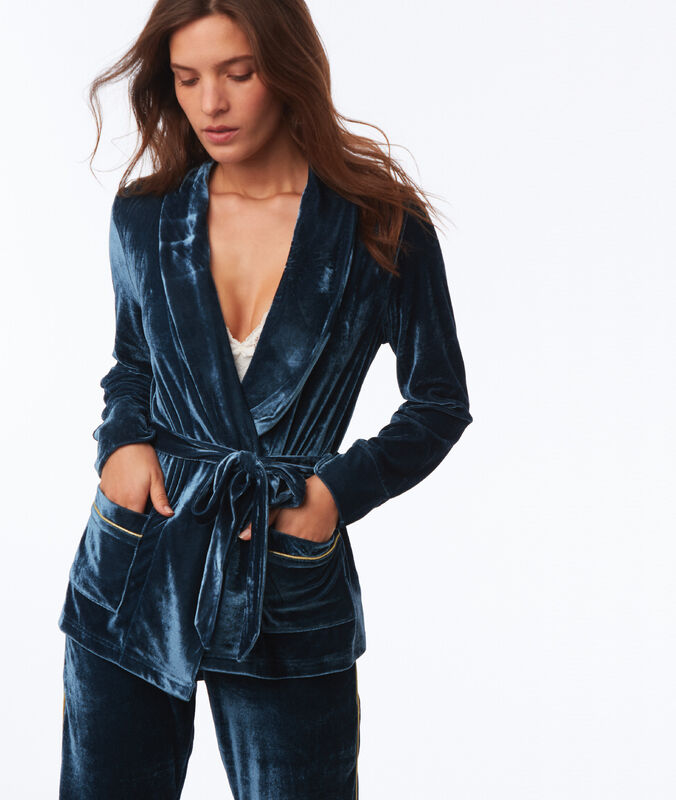 Sametový pyžamový kabátek modrá.