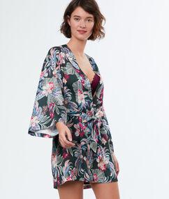 Kimono negližé satén s potiskem khaki.