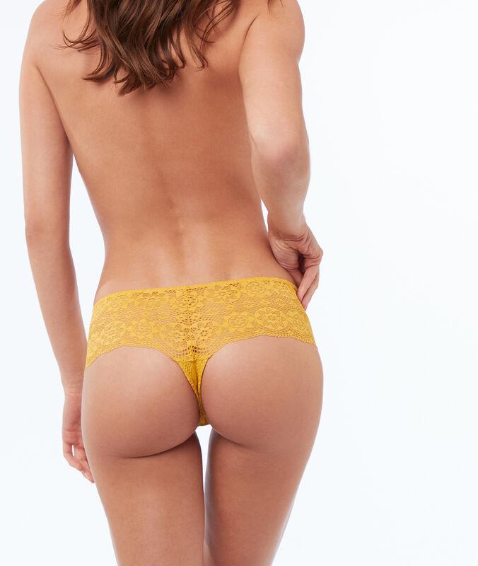 Krajkové bokové kalhotky okrová.