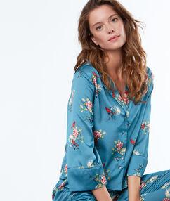 Pánská košile od pyžama s květinovým potiskem  bleu.