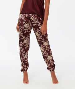 Pantalon satin imprimé bordeaux.