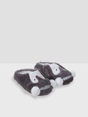 Pantofle tučňák z nepravé kožešiny gris.