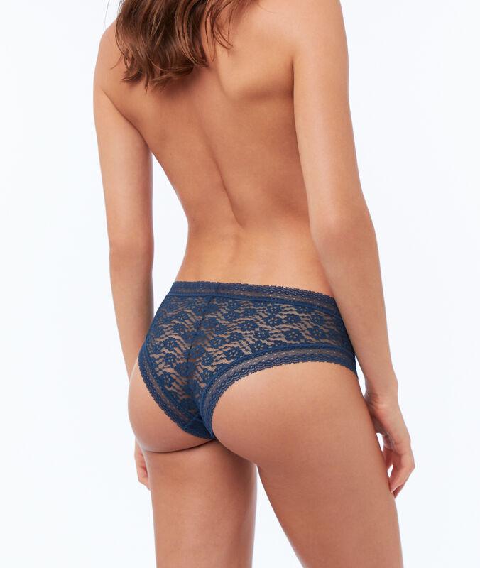 Bokové kalhotky skvětinovou krajkou modrá.