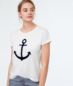 Tričko s potiskem kotva blanc.