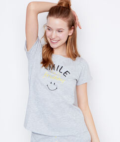 Top s nápisem smiley šedá.