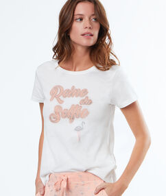 Tričko s vyšitým nápisem blanc.
