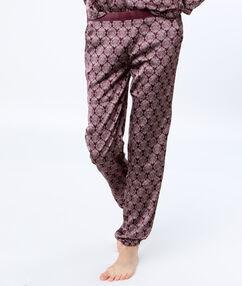 Saténové kalhoty s potiskem bordeaux.