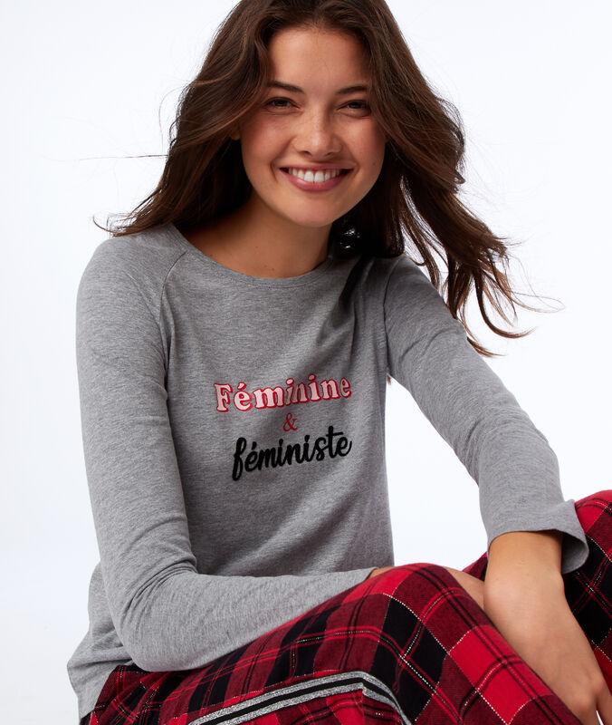 Pyžamový top s dlouhým rukávem šedá.