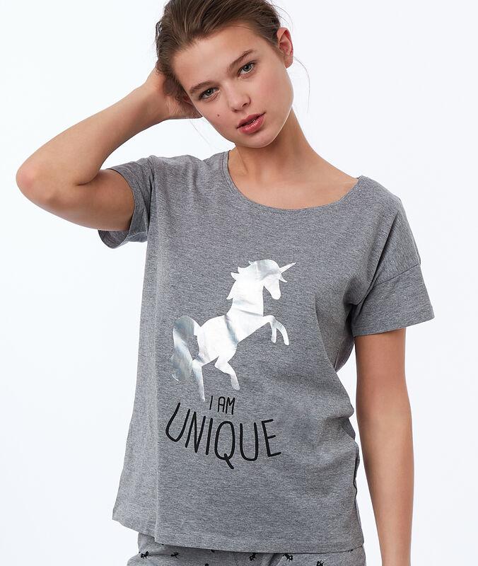 Tričko s potiskem jednorožce a nápisem šedá.