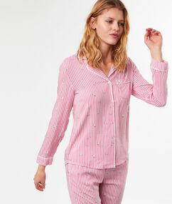 Chemise de pyjama rayé imprimée chats rose.