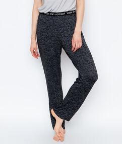 Kalhoty homewear žíhaný úplet černá.
