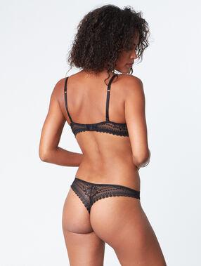 Krajkové kalhotky brazilky černá.