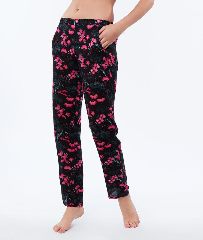 Kalhoty spotiskem sjaponským vzorem černá.