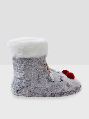 Domácí boty se zvířátky šedá.