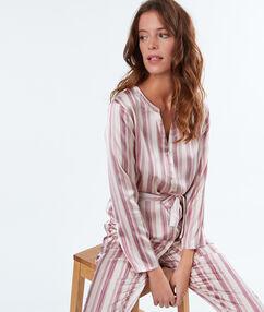 Pánská košile od pyžama saténová s pruhy ecru.