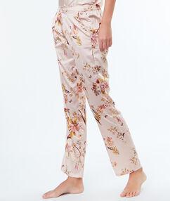 Saténové kalhoty s květinovým potiskem rose poudre.