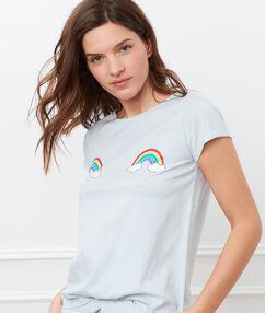 T-shirt imprimé arc en ciel bleu ciel.