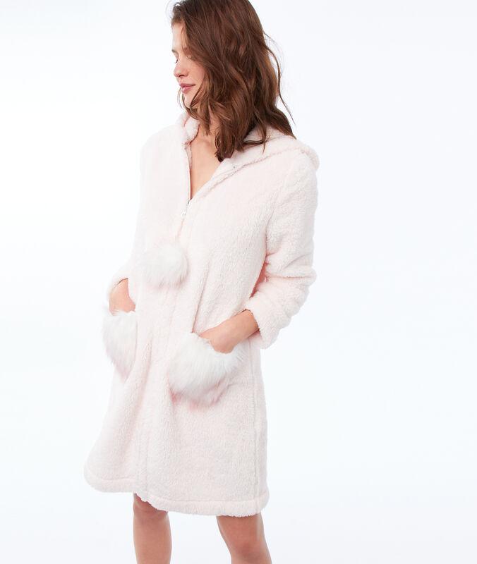 Domácí oblečení z nepravé kožešiny s kapucí světle růžová.